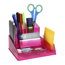 italplast desk organiser tinted pink