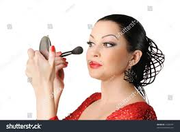 beautiful young woman flamenco style face make up on withe background