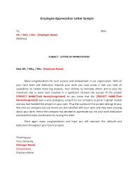Letters Of Appreciation Employee Appreciation Letter Sample