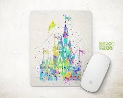 disney office decor. sleeping beauty mouse pad cinderella castle watercolor mousepad office decor gift disney r