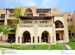 the arabic style villas in luxury hotel stock image