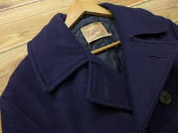 old clothes vintage pea coat long length wool dark blue navy large size used men outer
