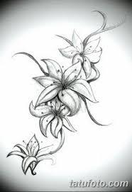черно белый эскиз тату лилия 09032019 055 Tattoo Sketch
