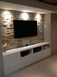 Decor Stone Wall Design Basement stone entertainment center with ikea cupboards www 45