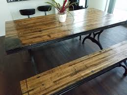 reclaimed oak boxcar plank table with benches recycled vintage antique rustic