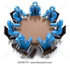 clip art 3d meeting business people session behind a round table fotosearch