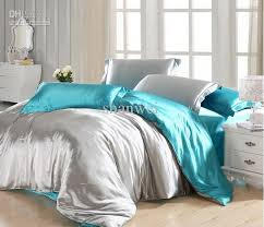 quality solid color blue and grey printed silk tencel bedding set ... & Quality Solid Color Blue And Grey Printed Silk Tencel Bedding Set for Queen  King Twin Comforter Adamdwight.com