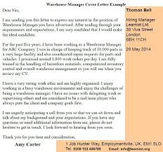 Warehouse Manager Cover Letter Example Learnist Org