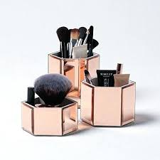 rose gold geometric shelves beautify rose gold mirrored glass hexagon storage pots for makeup brushes jewellery rose gold geometric shelves