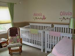 cute baby girl room themes. Simple Baby Girl Bedroom Ideas With Double White Wooden Crib And Vintage Rocking Chairs Plus Names Wall Art Cute Room Themes