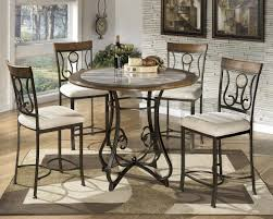 home dining room pub gathering height tables hopstand round counter table with steel base faux marble top by signature design by ashley