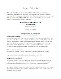 Security Guard Resume Security Officer Resume Objective Co Duties