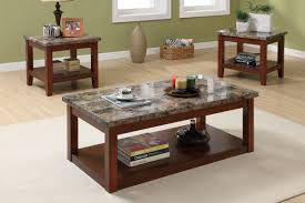 modern coffee table with wooden base in square shape with granite in grey tone on its top
