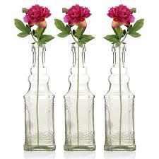3 pack 6 5 ella clear vintage glass bottle with cork diy wedding flower bud vases