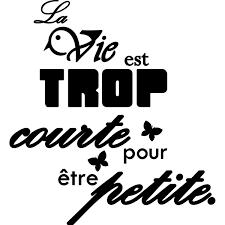 Sticker La Vie Est Trop Courte Pour être Petite Stickers Citation
