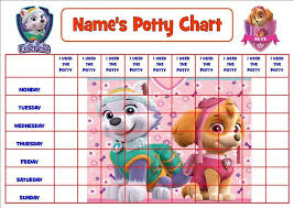 Potty Training Chart Printable Paw Patrol Paw Patrol Pink Personalised Potty Toilet Reward Chart