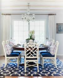 navy and white dining room add chippendale chairs to cur dr table like this