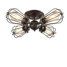 YOBO Lighting Oil Rubbed Bronze Wire Cage Vintage 4 Lights Semi Flush Mount Ceiling  Lights Fixture