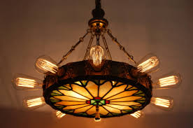 1920 s 14 light theatre chandelier w stained glass panel lighting package