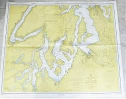 Vintage 1961 Nautical Chart Map Puget Sound To Olympia 8th