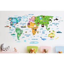 geometric wall stickers map of the world wallpaper room decoration vinyl removable decal