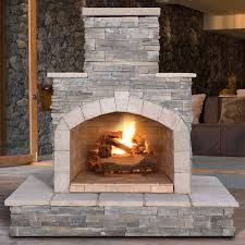 cultured stone propane gas outdoor fireplace
