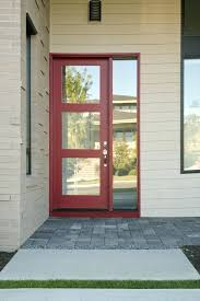 half glass front door this more modern example has a single sidelight on the right side half glass front door