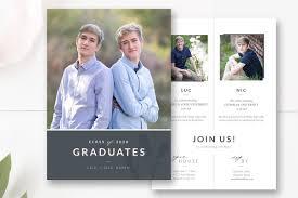 Design Graduation Announcements Twins Graduation Announcement Psd Card Templates