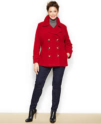 red pea coats jason kole plus size double ted pea coat