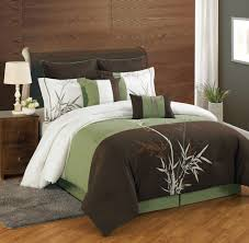 dark brown and green bedding set with white combination on the