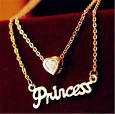 hot lady las princess letter crystal 14 k yellow gold plated pendant necklace
