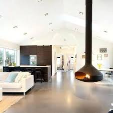 Contemporary Fireplace Suspended From The Ceiling  LivinatorFloating Fireplace
