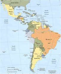 political map of south and central america