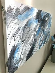 abstract acrylic painting black and white abstract marble fluid painting black white and blue acrylic wall