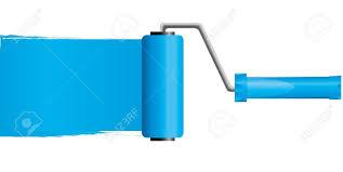blue paint roller brush with blue paint
