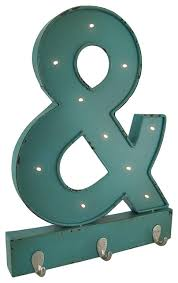 metal led blue ampersand wall hanging with hooks