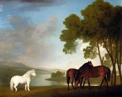 george stubbs two bay mares and a grey pony in a landscape
