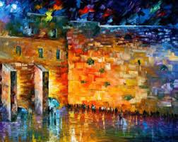 jewish art wailing wall painting on canvas by leonid afremov wailing wall on modern jewish wall art with jewish art etsy