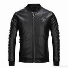 men s jacket hip hop european and american tide brand rivet pp leather jacket korean version of the skull zipper pu leather men s tide