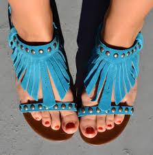 Fotka Rudé Nehty V Tyrkysových Sandálkách Moje Nožky