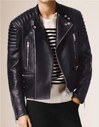 padded navy motorcycle leather jacket