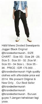 Hm Size Chart H M Mens Divided Sweatpants Jogger Black Original Size Chart