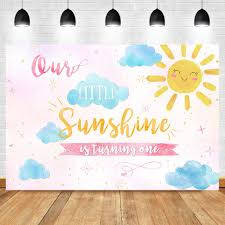 Us 9 79 41 Off Sunshine Birthday Backdrop 1st First Boy Girl Pink Blue Summer Party Banner Photo Background Sunshine Party Cake Table Decorate In