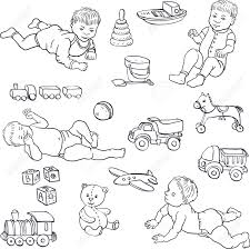 Set of line drawing babies and toys cars bear horce ball