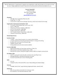 Sample Resume For High School Students Applying To College Save