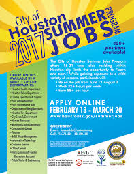 Summer Jobs Applications Now Open For City Of Houston Summer Jobs News