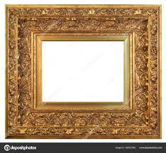 old vintage golden frame white background isolated stock photo