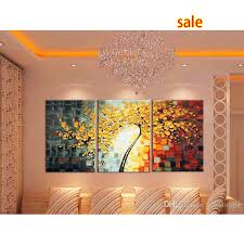 2019 new oil painting 3 panel canvas wall art picture modern abstract home decor living room set hand painted palette knife tree from aozhouqie