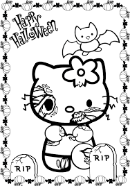 Scary Halloween Hello Kitty Coloring Pages | Cartoon Coloring ...