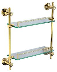 Brass Bathroom Accessories Brass Bathroom Accessories Double Glass Shelf In Golden Plated